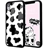 Idocolors Cute iPhone 8 Plus/7 Plus Case,Design Soft Silicone Bumper&Aluminum Hard Back Anti-Fall Shockproof Exquisite Cow Pattern Girly Protective Cover Case for iPhone 7 Plus/8 Plus