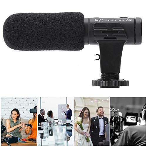 Microfoon op camera, Micro USB Studio Opnamemicrofoon Standaard 1/4 schroefgat Metacentrische oriëntatie Condensatormicrofoon Stroomindicatielampje, voor mobiele telefoon, DSLR-camera's, enz