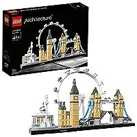 Interprétation LEGO Architecture de Londres. Comprend la National Gallery, la colonne Nelson, le London Eye, Big Ben (la tour Elizabeth) et le Tower Bridge. La Tamise est représentée par des plaques de base transparentes. Le Tower Bridge se soulève p...