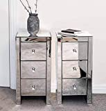 Pair of Mirrored bedside tables units cabinets with three <span class='highlight'>drawer</span>s and crystal handles
