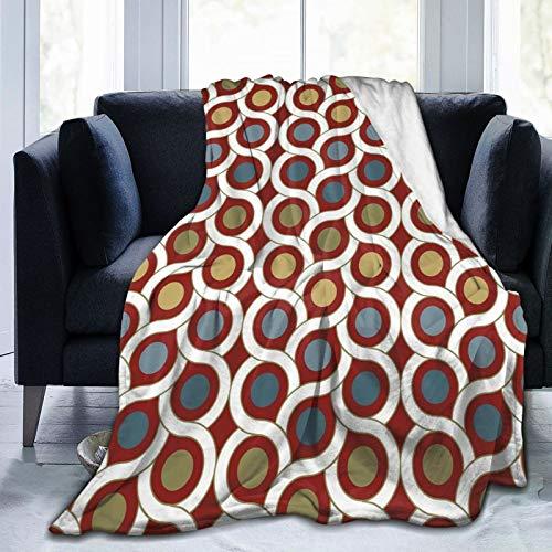 Manta esponjosa, geométrica entrelazada con formas circulares y lunares redondos en líneas simétricas diseño artístico, ultra suave, manta para dormitorio, cama, TV, manta de cama de 80 x 60 pulgadas
