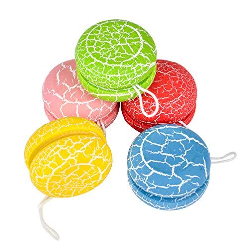 BESPORTBLE 5Pcs Wooden Yoyo Toys Classic Creative Yo Yo Ball Colorful Crackle Beginner Yo- Yo Ball Kids Early Educational Ball Toy Gifts for Kid Child( Random Color)