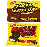 Milk Chocolate Mallo Cups and Peanut Butter Cups Fun Bites, Snack Sized Candy Pieces, 10 Ounces, Pack of 2