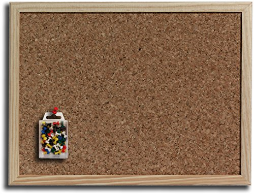5 Star Kork-Pinnwand mit Naturholzrahmen, braun (60 x 40 cm + 60 Nadeln)