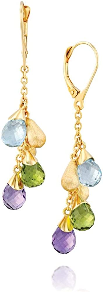 Gold Drop Earrings - 14k Solid Heavy Yellow Gold With Multicolored Drops Gemstones in Cluster Settings - Elegant Christmas Gift