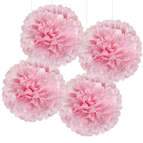 Andaz Press Large Tissue Paper Pom Poms Hanging Decorations, Pink, 14-inch, 4-Pack, Girls 1st Birthday Baby Shower Baptism Colored Party Supplies