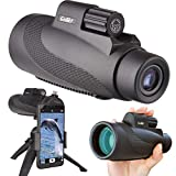Gosky 12X50 High Power Prism Monocular Smartphone Holder and Handheld Tripod Kit- Waterproof/Fog-Proof/Shockproof