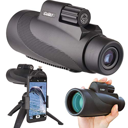 Gosky 12X50 High Power Prism Monocular Smartphone Holder and Handheld Tripod Kit- Waterproof/Fog-Proof/Shockproof Grip Scope -for Hiking,Hunting,Climbing,Birdwatching Watching Wildlife and Scenery
