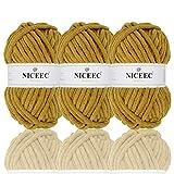 NICEEC 3 Skeins Sparkling Chenille Yarn Soft Velvet Yarn for Crochet Knitting Blanket Yarn DIY Craft Bulky Weight Yarn for Blanket-Total Length 3×50m(3×55yds,100g×3) -Mustard