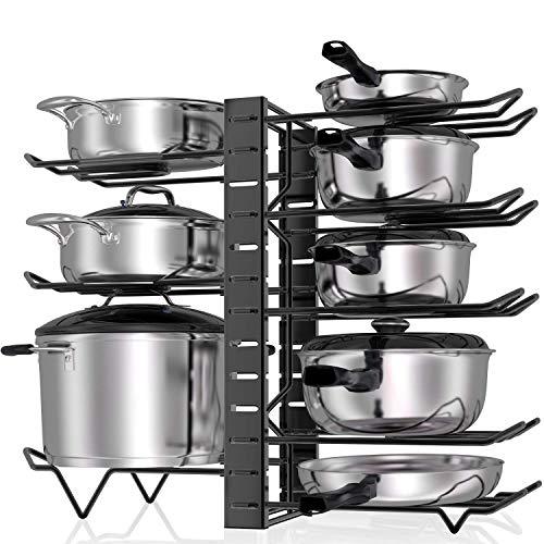 Pot Rack Organizers, ARVINKEY 3 DIY Methods Pan Organizer Rack for Cabinet, Adjustable 8 Tiers Pot Lid Holders & Pan Rack for Kitchen Counter