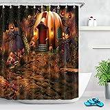 qiuping888 Feen-Halloween-Duschvorhang, Kürbis-Cottage-Motiv, mit gratis Haken, wasserdicht, Duschvorhang, langlebiger Stoff, kreativer Stoff, 180 x 180 cm