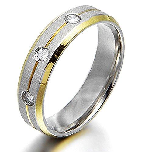 Gemini Damen-Ring Titan , Herren-Ring Titan , Freundschaftsringe , Hochzeitsringe , Eheringe, Bicolor, Zirkonia Breite 6mm Größe69 (22.0)