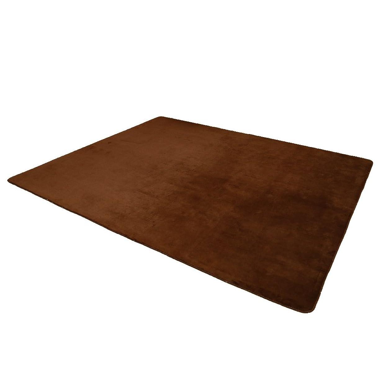 断片不正セーブラグマット 140x200 1.5畳 オールシーズンラグ 滑り止め付 マット 絨毯 低反発 床暖房?ホットカーペット対応 長方形 軽量設計 折り畳みラグ 12色選べる(S, ブラウン)