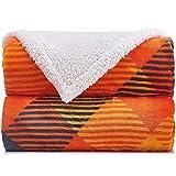 Malinad Plaid Throw Blanket - 50x60 Black & Orange - Printed Buffalo Flannel Fleece & Sherpa – Soft, Cozy, Warm - Perfect for Bed, Sofa, Couch