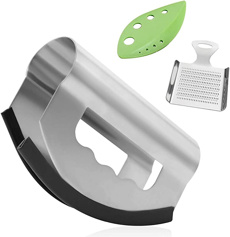 NOVASTARCK Salad Chopper Set With Herb Vegetable Stripper And Ginger Garlic Zester Double Bladed Stainless Steel Salad Chopper With Protective Cover Mezzaluna Knife Herb Cutter For Home Kitchen