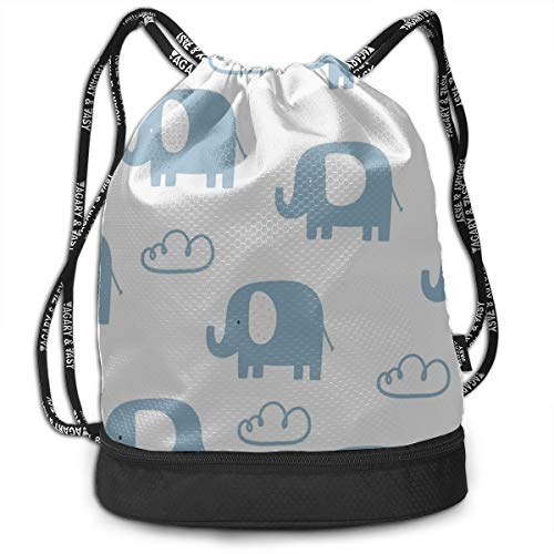 Best Backpack Happy Popular Elephant Gym Drawstring Bags Backpack Sports String Bundle Backpack For Sport With Shoe Pocket Gym Toiletry Bag For Men