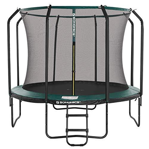 SONGMICS Trampolin 366 cm, rundes Gartentrampolin mit Sicherheitsnetz und Leiter, gepolstertes Gestell, für Kinder und Erwachsene, schwarz-dunkelgrün STR123C01