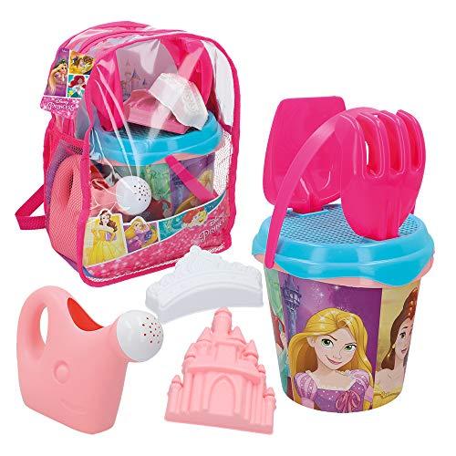 Disney - Mochila Princesas Disney Set Cubo de playa Completo Pala, Rastrillo, Cedazo, Regadera, Moldes Juguetes bebés 1 año Juguetes niños niñas 10 meses Juguetes Arenero infantil