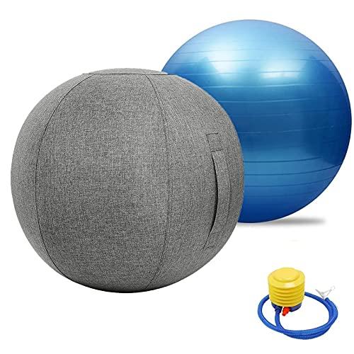 Pelota de asiento para oficina, ergonómica, para yoga, gimnasia, funda de lino de algodón, dispositivo de equilibrio para casa y oficina, carga máxima, pelota de equilibrio con bomba rápida (color: