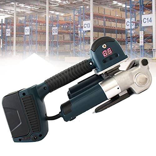lxiluv Portátil Máquina Flejadora Eléctrica, flejadora de Soldadura automática, Pantalla LCD de Tiempo e Intensidad, 60-4000N Ajustable con 2 baterías Recargables, para cinturón PP/Pet