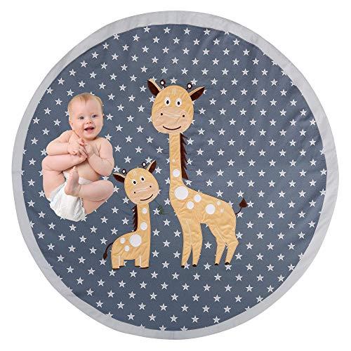 OBERLUX Baby Play Mat Memory Foam  Play Mat for Baby Machine Washable 49 inchesLarge Non Slip Floor Mat Playroom Decor Baby Crawling Mat Tummy Time Mat Jungle Animal Safari Theme Baby Mat