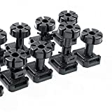 20 x verstellbare Stellfüße Sockelfüße 125-195 mm | mit 5 Stück Befestigungsclips | Tragkraft bis 500 kg | schwarz