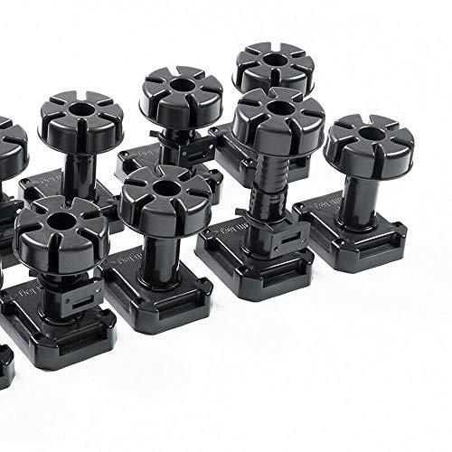 20 pies niveladores ajustables de 125 a 195 mm, con 5 clips de fijación, capacidad de carga de hasta 500 kg, color negro