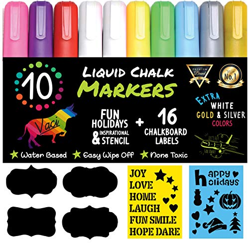 Chalk Markers by Vaci, Pack of 10 + Drawing Stencils + 16 Labels,...