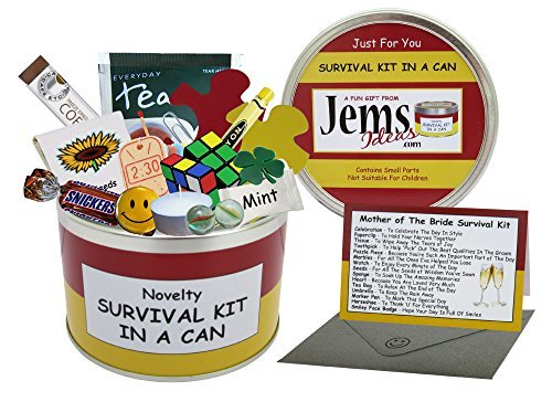 Mother of The Bride Survival Kit In A Can. Humorous Novelty Gift - Wedding Day Thank You Gift/Favor/Favour. Mum/Mother Present & Card All In One. Customise Your Can Colour.