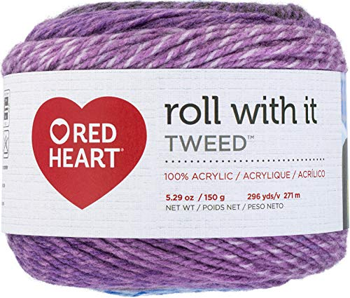 Red Heart Roll with It Yarn Tweed-Violet