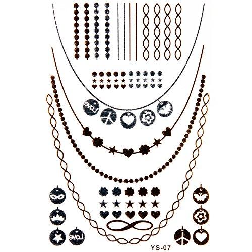 JewelryWe Bling Your Body mit Flash Metallic Tattoos Gold Schwarz Silber Temporäre Tattoos Tattoo für Körper Finger Arme, toller Haut Schmuck Modeschmuck, Modelle G