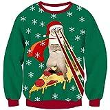 Laser Pizza Katze Weihnachtspullover