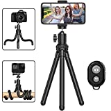 Phone Tripod, Portable Cell Phone Camera Tripod Stand with Wireless Remote, Flexible Tripod Stand for Selfies/Vlogging/Streaming/Photography Compatible with iPhone, Android Phone, Sports Camera GoPro