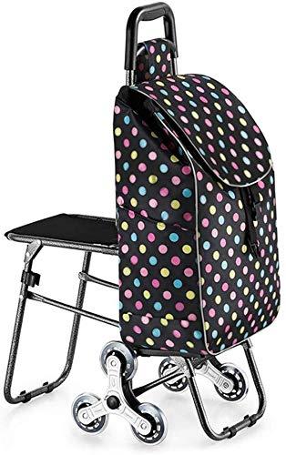 JIAN Trolley, trapopzetstuk, boodschappentrolley met kruk, opvouwbaar, draagbaar, roestvrij stalen wiel, sterke draagkracht, voor ouders en ouderen, voor winkelen op reis (kleur