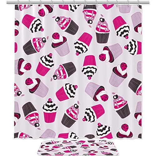 Beautiful Yummy Cupcake-Duschvorhang-Set, 2 Stück, mit rutschfester Badematte (39,9 x 59,9 cm) & langlebiger, wasserdichter Duschvorhang (179,8 x 179,8 cm) für Badezimmer