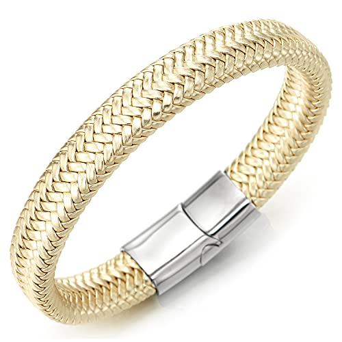 COOLSTEELANDBEYOND Pulsera de cuero trenzado de color dorado para hombre y mujer, cierre magnético de acero inoxidable