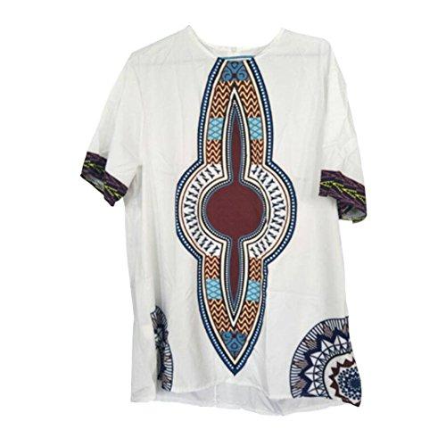 Hzjundasi Herren Retro afrikanisch National Kostüme Tribal Hemd Tradition Kleider Gedruckt Kurze Ärmel Dashiki