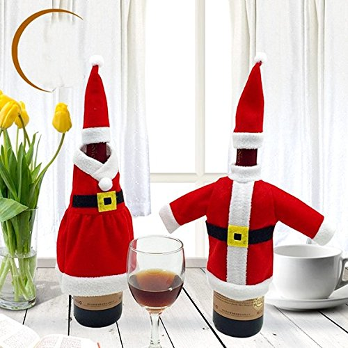 Navidad Santa Claus botella de vino tinto cubierta abrigo fiesta de Navidad...