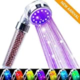 Nosame Led Shower Head, Ionic Filter Filtration High Pressure Water Saving 7 Colors Automatically No Batteries Needed Spray Handheld Showerheads for Dry Skin & Hair