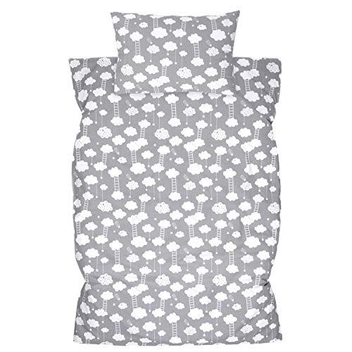 Amilian Ropa de cama infantil de 2 piezas, 100% algodón, ropa de cama para bebé, funda nórdica de 100 x 135 cm, funda de almohada de 40 x 60 cm, con cierre de hotel, escalera gris claro