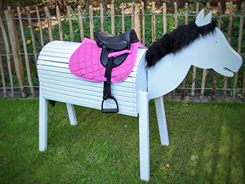 Holzbriketts Rheine Kinder Shetty Sattelset komplett für Holzpferd - My Little Pony (Sattel schwarz/Schabracke rosa) Spielpferd Gartenpferd