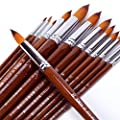 BOSOBO Pointed-Round Paint Brushes Set, 13pcs Professional Wood Handle Nylon Hair Artist Paintbrushes for Watercolor Acrylic Ink Gouache Oil Tempera Painting, Face Body Art, Craft and Paint by Number