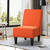 Armless Accent Chair Living Room Chairs Upholstered Chair (Orange)