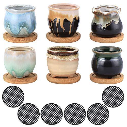 Coolty 6 Stück Keramik Sukkulenten Töpfe, 6cm Mini Blumentöpfe Set, Kaktus Pflanze Töpfe für Schreibtisch, Bücherregal, Geburtstag, Hochzeit, Festival Geschenk