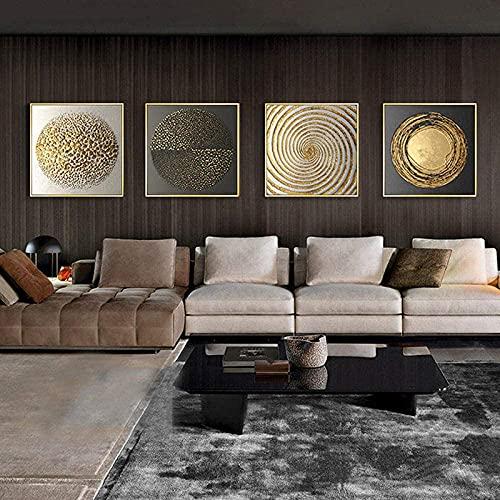 XINGCI Cuadro moderno cuadrado abstracto, dorado, negro y blanco, textura, lienzo de...