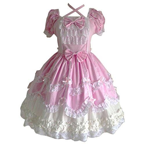 Partiss Damen Gothic Prinzessin Cosplay Sweet Lolita Kleid - Pink - X-Groß
