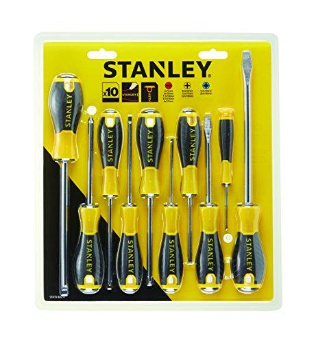 Stanley STA060211 Tools 060211 0-60-211 Essential Schraubendreher-Set, 10 Stück, PH/SL/PZ, Gelb/Schwarz, One size