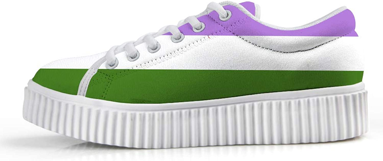 Owaheson Platform Lace up Sneaker Casual Chunky Walking shoes Low Top Women Genderqueer Pride Flag