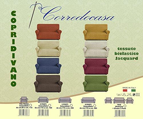 Corredocasa - Copridivano 3 posti in tessuto elastico (da 170cm a 210cm) Made in Italy (Colore da scegliere con una mail)