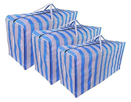 Jumbo waszakken met ritssluiting, 3 Pack blauwe streep grote wasgoed opslag boodschappentassen met rits en handgrepen voor beddengoed/lothing/reizen/verhuizen huis (gesorteerd grootte)